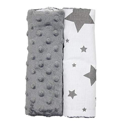 TupTam Kinder Auto Gurtschutz Gurtschoner 2er Pack, Farbe: Sterne Grau Weiß/Dunkelgrau