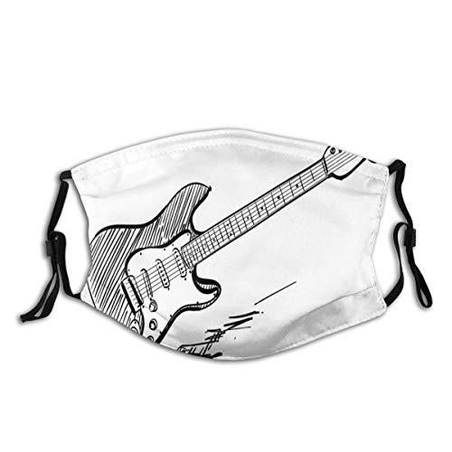 HUAYEXI Gesichtsbedeckung,Hand gezeichnete Art E Gitarre auf weißem Hintergrund Rock Music Accords Sketch Art,Sturmhaube Wiederverwendbar Winddicht Staubschutz Mund Bandanas Outdoor Mit 2 Filtern