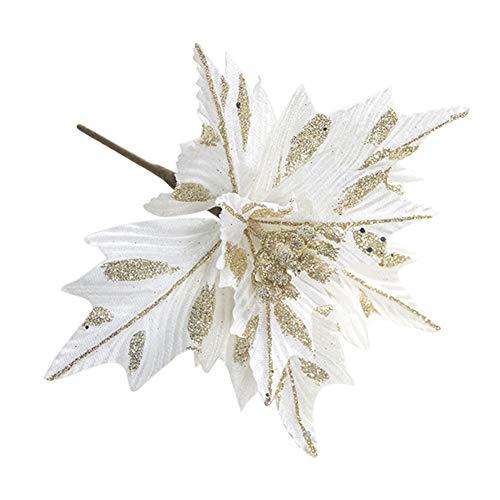 SUREH 6 st silke julstjärnor konstgjorda julblommor glitter julstjärna julgransprydnader konstgjort bröllop julgran blomkrans dekorationer val vit