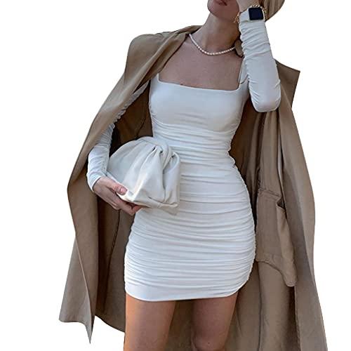 KIACIYA Y2K Damen Minikleid Trägerkleid Lange Ärmel Kleid Sexy Party Strand Kleider Casual Geraffter Kleid Kurzes Kleid Damen Vintage Rundhalsausschnitt Elegant Sommerkleid Clubwear (White,S)