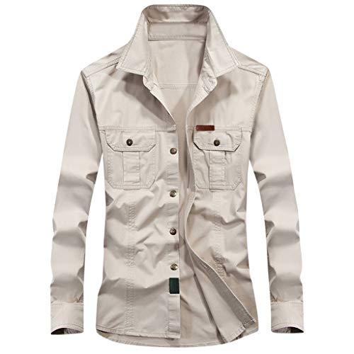 serliy😛Herren Mode Einfarbig Kurzarm Hemd Jeanshemd Langarm Männer Casual Slim Fit T-Shirts mit Taschen Arbeit und Freizeit Strand Freizeithemd Outdoor Reise