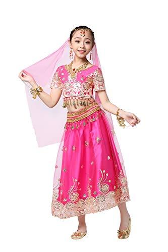 XG-SKIRT Indische Tanzkleidung für Kinder Bauchtanzgarn für Kinder Bollywood-Performance-Kleidung Trachten für Kinder Indische Kleidung,Pink,S