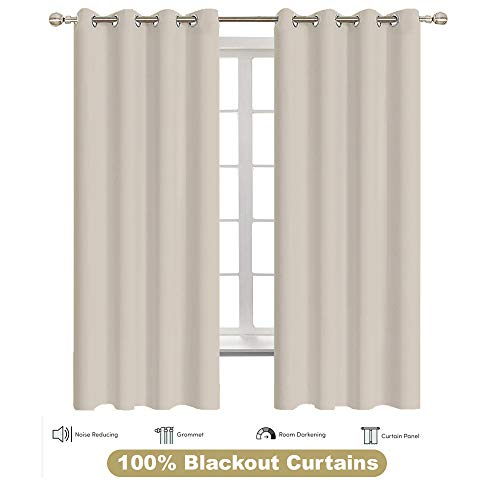 Curtains for Living Room Keep Out UV Ray Energy Saving Grey Curtains Window Drapes Thermal Insulated, (2 Panels, 60 inches Wide x 54 inches Long),Ivory Solid