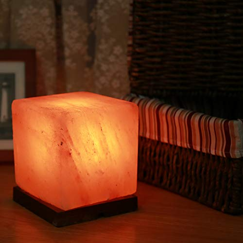 ZIYIUI Lámpara de Sal del Himalaya Forma Cuadrada, Cable y Bombilla - Natural 100% - Hecha a Mano Mesitas de Noche Modernas Lámpara Mesa