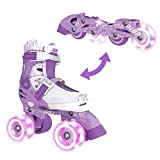 Yvolution Neon Combo Skates | 2-1 Quad and Inline Skates for Kids with LED Wheels | Adjustable Sizing