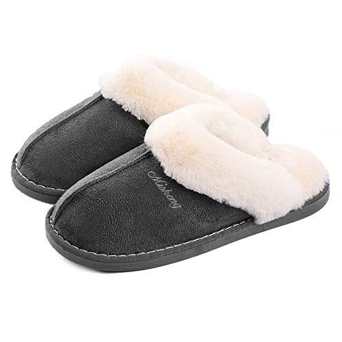 Misolin Damen Herren Hausschuhe Winter Warm Faux Pelz Slipper Weiche Flache Plüsch Pantoffel rutschfeste Outdoor/Indoor - mit super Qualität