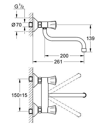 Grohe – Costa Küchenarmatur für Wandmontage, schwenkbar, Chrom - 2