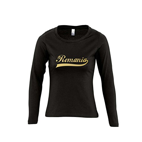 Romania Oldschool Rumänien LÄNDERSHIRT EM / WM FAN Trikot - Damen Langarm Longsleeve T-Shirt S-XL , Deep black - gold , XL