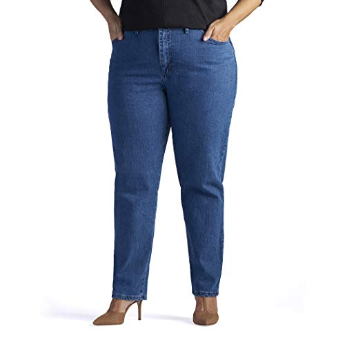 Lee Women's Plus-Size Relaxed Fit Side Elastic Tapered Leg Jean, Pepperstone Stretch, 20W Long