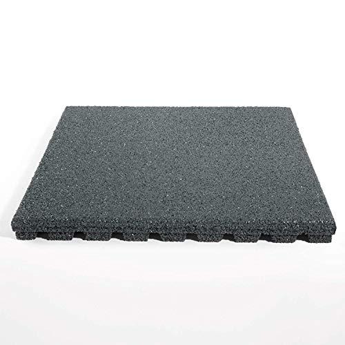 etm Pavimento Antitrauma Protettivo - Tappeto Fitness Palestra | Pavimenti in Gomma Componibili in Set da 4 Pezzi 50x50 cm ad Incastro (1 m²) - Spessore 25 mm - 4 Colori - Grigio