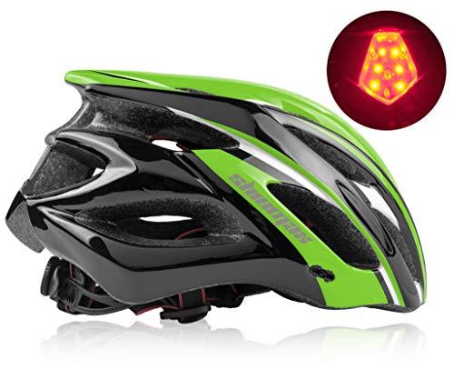 Shinmax Casco Bici,Casco MTB con Luce LED,Casco Bici per Adulto con Visiera StaccabileCasco da Montagna da Strada Specializzato Regolabile Certificato CE,Casco Bici Uomo per con Visiera Staccabile