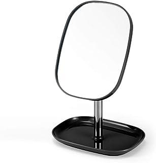 Asdfnfa Makeup Mirror Portable Simple Princess Bedroom Vanity Mirror360° Rotate HD Cosmetic Mirror (Color : Black)