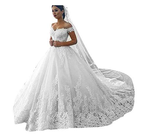 Princess Women's Off Shoulder Lace Wedding Dresses for Bride 2020 Wedding Gowns Court Train Bridal Gowns White 10