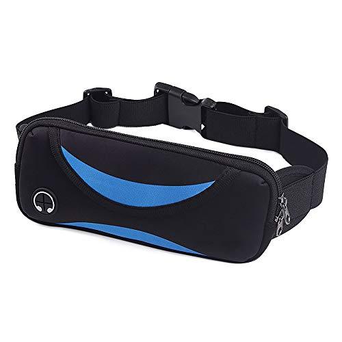 Bocotoer - Riñonera para Deporte, Impermeable, para teléfono móvil, Color Negro y Azul