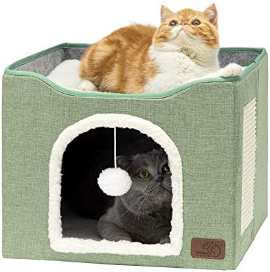Bedsure Cat Cube Foldable Cat Cubes for Indoor Cats Cat House Indoor Large Cat Bed with Fluffy product image