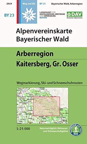 Alpenvereinskarte Bayerischer Wald, Arberregion, Kaitersberg, Osser: Wegmarkierung, Ski- und Schneeschuhrouten (Alpenvereinskarten)