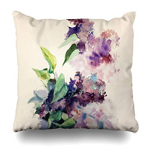 Pamela Hill Fundas de Almohadas Fundas de Almohadas 20X20IN 2PCS, Original Abstract Water Andhand Sketch Flores púrpuras