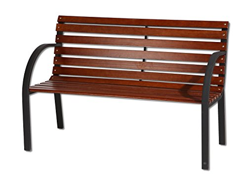 3 Seater Garden Patio Bench Oakwood Slats Metal Legs 122cm