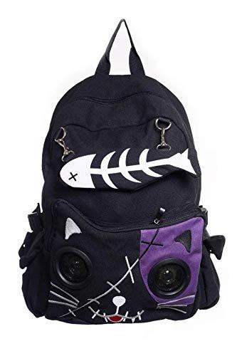 Lautsprecher Rucksack Tasche von Banned Apparel Kitty Ohren AUX universell 3.5mm Jack - violett, Standard