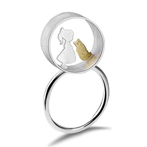 Lotus Fun S925 Sterling Silber Ring Liebe mit Katze Treffen Ring Natürlicher Kreativ Handgemachter Einzigartiger Schmuck für Frauen und Mädchen (Girl)