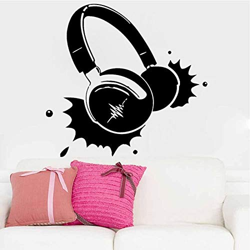 Koptelefoon muziek vinyl stick muur rok pop song Singer decor woonkamer sticker voor jongens Benroom behang sticker 59x56cm