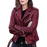 Chaquetas de cuero para hombres y mujeres, chaquetas de cuero a prueba de viento de motocicleta piloto de moda y fresco, B-Vino, XL