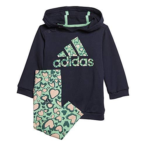 adidas I Dress Set Tuta, Unisex bimbi, Top:Legend Ink/Semi Solar Slime/Pink Tint Bottom:Semi Solar Slime/Pink Tint F20, 2-3Y