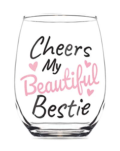 Cheers My Beautiful Bestie 15oz Stemless Wine Glass - Best Friend Gifts for Women Birthday - Wineglass Gift for Best Friends Female, Bestfriend Woman, Sister - Friendship Gifts for Women - BFF Glasses