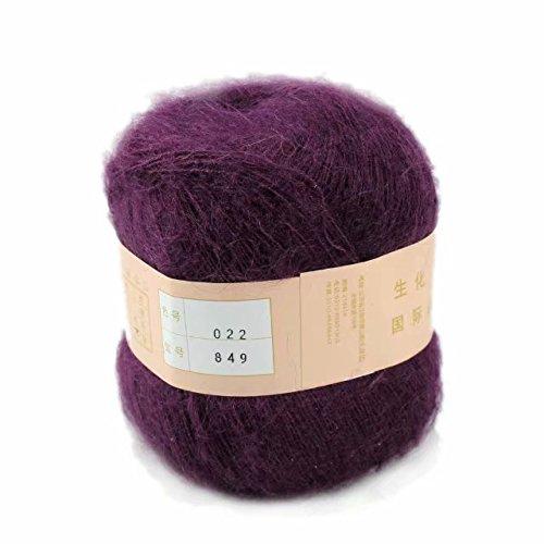 Artilin One Skein Soft&Warm Angola Mohair Cashmere Wool Knitting Yarn 50g,Deep Purple