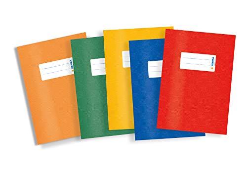 Herma 20213 - Copertine per quaderni, formato A5, in plastica, set da 5 pezzi, con 1 cucitrice blu, rosso, verde, giallo, arancione