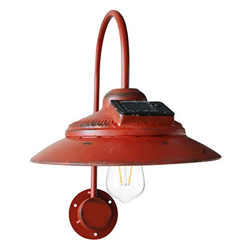 Goodeco Solar Barn Light Outdoor,Wall Mount Rustic Vintage Red Barn Light,Waterproof, No Wiring,Décor Lighting for Patio, Garden, Deck, Path Courtyard(Red)