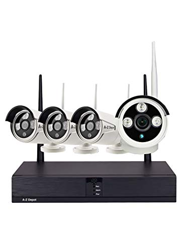 A-Z Depot Wireless Security Camera System 4CH 1080P NVR 4Pcs 1080P Outdoor/Indoor WiFi Surveillance Cameras, Outdoor Night Vision, Motion Alert, Waterproof, No Hard Drive