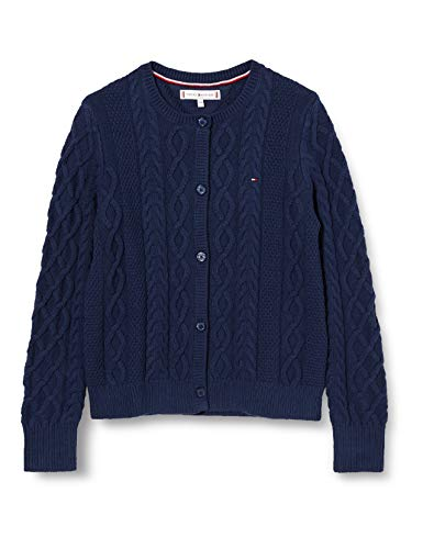 Tommy Hilfiger Cable Cardigan Suéter, Twilight Navy, 86 para Mujer