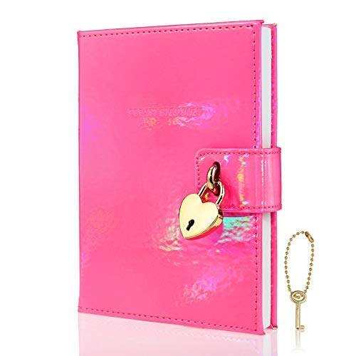 Mazeran Heart Shaped Lock Journal, Laser Rainbow PU Hard Cover Notebook Travel Diary, B6 Lined Locking with Key Personal Planner Secret Organizers Gift for Girls Women Daughter