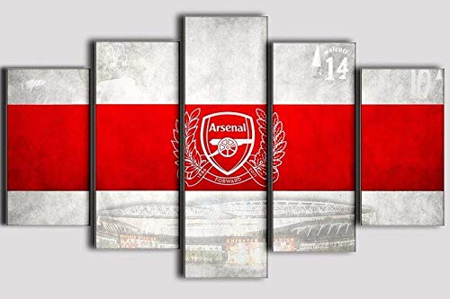 5 Pieces Canvas Paintings Arsenal Football Club Logo Printing Poster Printer of Boy's Room Decoration poster-100x55 cm