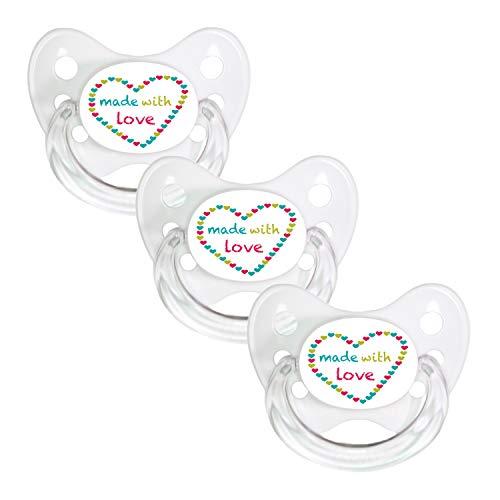 Dentistar® Schnuller 3er Set- Nuckel Silikon in Größe 3, ab 14 Monate - zahnfreundlich & kiefergerecht - Beruhigungssauger für Babys und Kleinkinder - BPA frei - Made in Germany - Weiß Made with Love