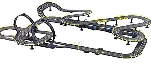 N&G Decoración para el hogar 18.2M Pista Grande Racing Slot Cars Juego de Carreras Juegos de vehículos a Escala 1:43 Modelo R/C Pista de Control Remoto de Alta Velocidad Juguete de Garaje de Acero in