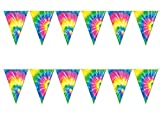 Tie Dye Pennant Banner - Indoor/Outdoor Party Garland Decorations for 60's Decade and Hippie Theme Parties (12' Long, Pack of 2)