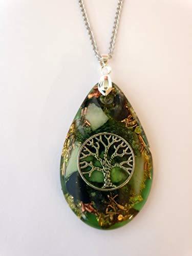 Nature-and-Spirit Orgonit Amulett mit Kette, Anhänger, Baum des Lebens, Orgon, Tropfen, Heilsteine, Serpentin, Amazonit