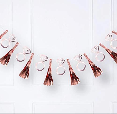Rose Gold Engagement Ring Tassel Garland Hen Party Banner Rose Gold Tassel Garland Team Bride Banner Bride to be Banner 1 Pcs