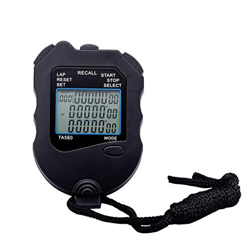 Operación precisa de una tecla, pantalla grande cl Temporizador de cronómetro deportivo Memoria segmentada Memoria Digital Cronómetro Temporizador de cuenta regresiva 12/24 horas Calendario de reloj c