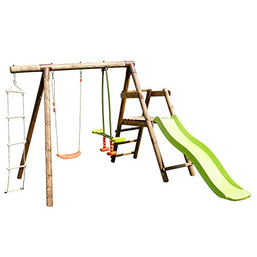 Soulet - Estación de madera tratada para niños, 3 agres y tobogán, color morero
