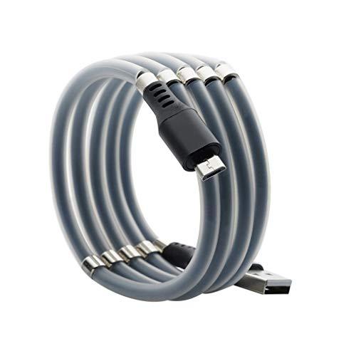 Magnetisches Micro USB Kabel Absorption Data Cable,Magnetic Datenkabel USB Ladekabel Android für Samsung, Huawei, Xiaomi, Wiko, Sony, Nexus, Nokia, Kindle, (Knoten verhindern) (Schwarz)
