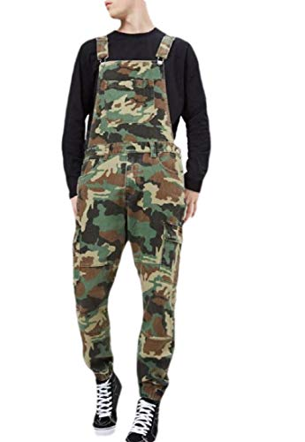 BingSai Herren Camouflage Snow Washed Denim Latzhose Pocket Ripped Jumpsuits Overall Gr. 27-32, 1
