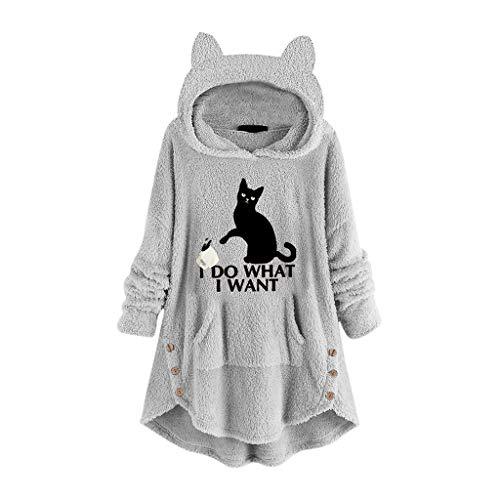Hffan Hoodie Pullover Damen Cat Drucken Kapuzenpullover Sweatshirt Casual Langarm Top