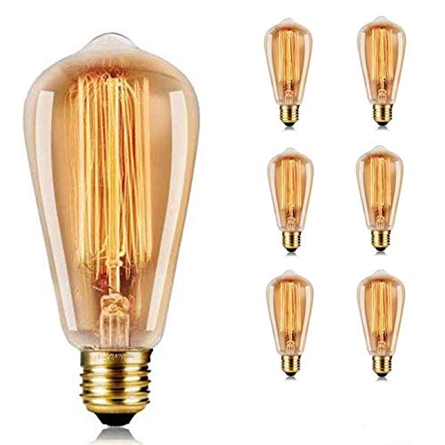 E27 40 W ST64 Vintage di Edison della lampadina Bianco Caldo Letto Wendel lampada industriale nostalgico stile retrò, Vetro,40w, E27 220.00volts-6Pezzi[Classe di efficienza energetica A]