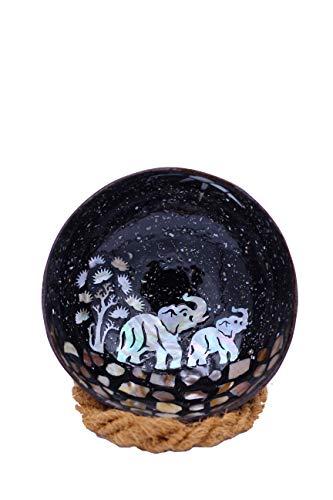 Meer Coco® Kokosnuss Schale, Mosaik Dekoschale, Ideal als Schmuck-, Schlüssel-, und Bowl Schüssel, Geschenk Set je 1 x Kokosnussschale + Schalen Halter - Elefant Design schwarz