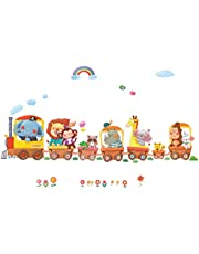 DECOWALL Trenes de Animales Vinilo Pegatinas Decorativas Adhesiva Pared Dormitorio Salón Guardería Habitación Infantiles Niños Bebés(1406A 8024)