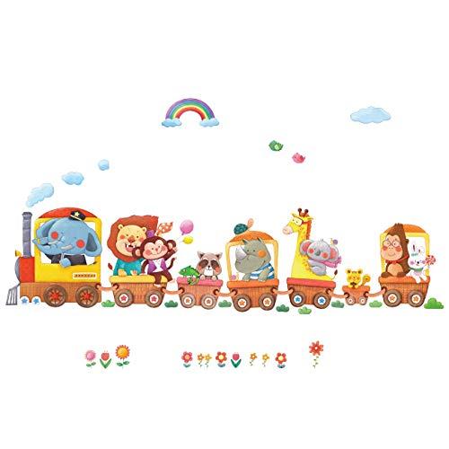 DECOWALL DL-1406AL Train Animaux Autocollants Muraux Mural Stickers Chambre Enfants Bébé Garderie...