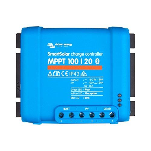 Controlador de carga solar Victron SmartSolar MPPT 100/20 20A para paneles solares de hasta 290W (12V) / 580W (24V) y hasta 100V. Con Bluetooth incorporado para monitoreo y programación avanza